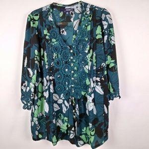 Denim 24/7 Womens Kimono Top Blouse Size 16W